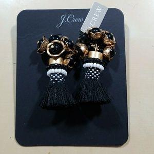 JCrew Flower Tassel Earrings
